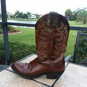 LAREDO Brown Leather Western Cowboy Boots Size 9.5